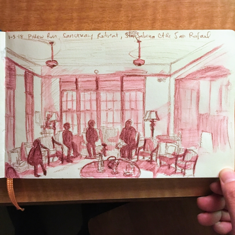 Sketch of retreatants in the Pillow Room, Santa Sabina Center, San Rafael, CA, by Lisa Hsia