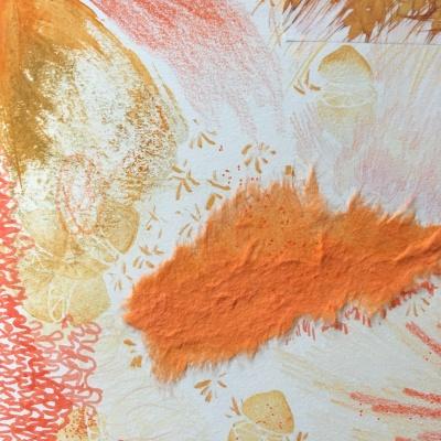 "Mixed media ""Orange"" page, Lisa Hsia"
