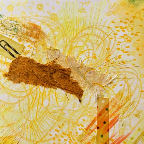 Yellow mixed media doodle by Lisa Hsia