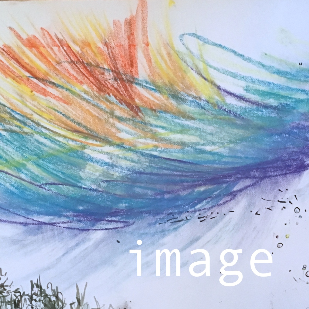 "The word ""image"" on a pastel rainbow scribble"