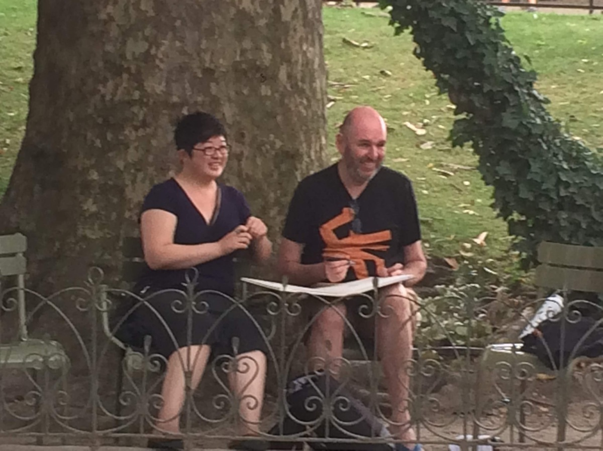 Lisa and Dov sketching at the Jardin du Luxembourg, Paris