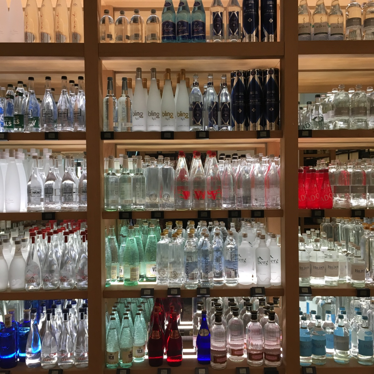 Wall of fancy bottled waters, La Grande Epicerie, Paris