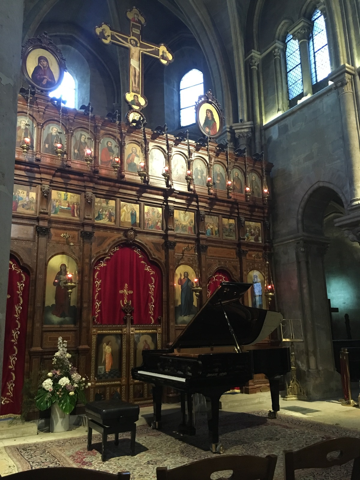 piano recital setup inside L'Eglise Saint-Julien-Le-Pauvre, Paris