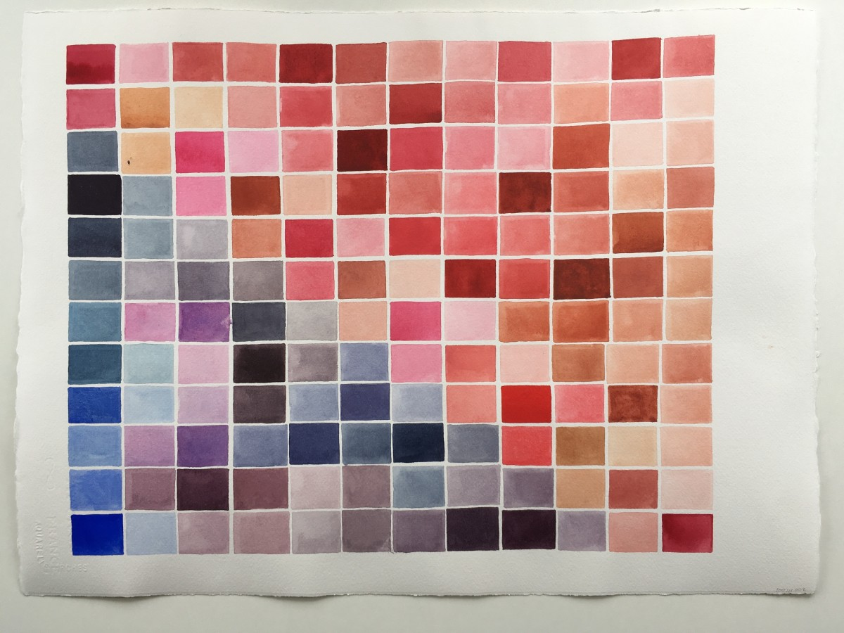 Watercolor painted grid of pink, blue, and purple rectangles