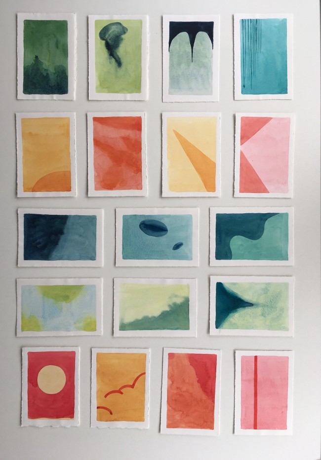 Postcard-sized watercolor paintings
