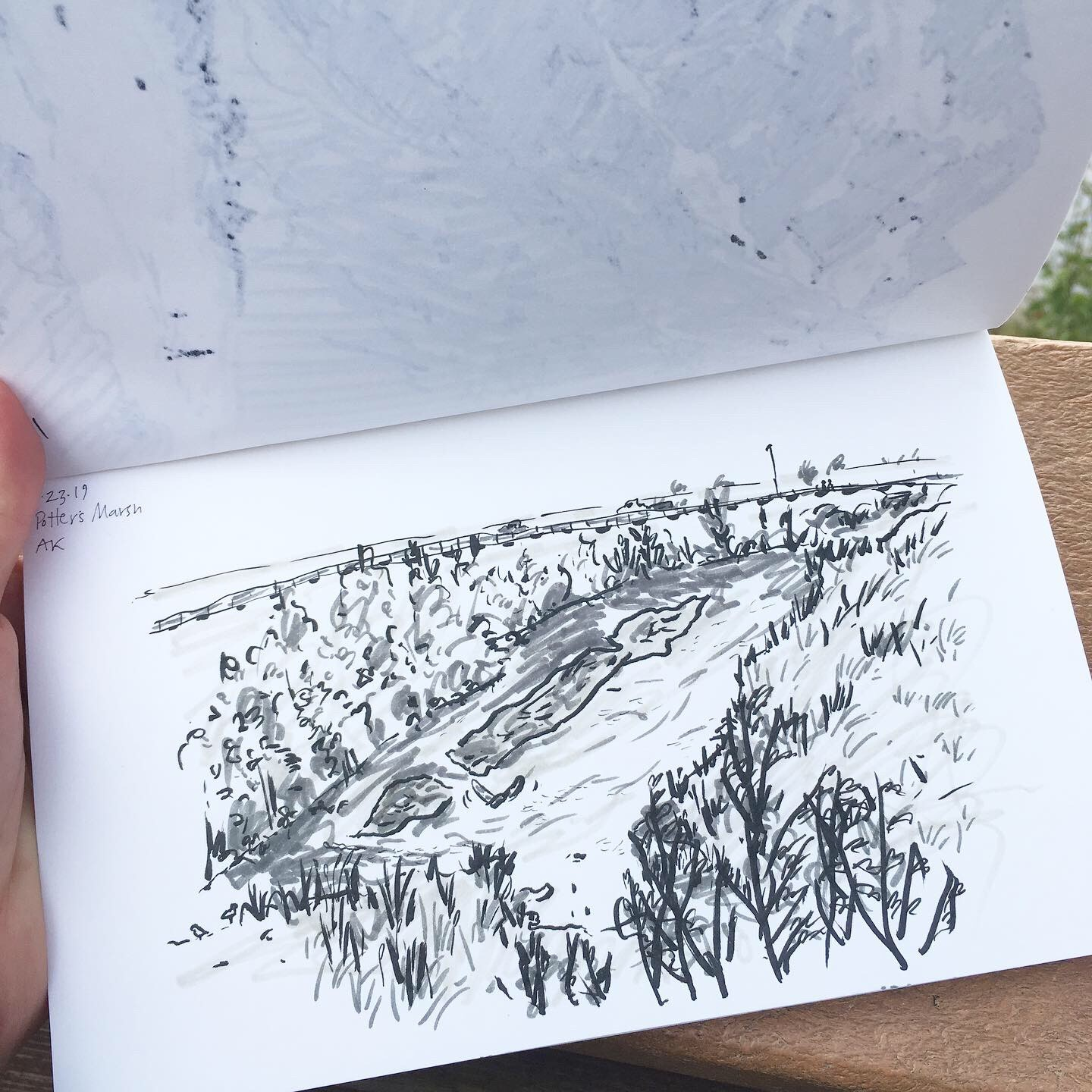 Three-color ink sketch of a river in Alaska