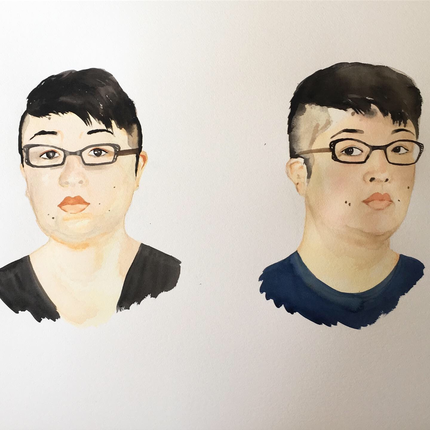 Double watercolor self-portrait of an Asian woman with very short hair and glasses