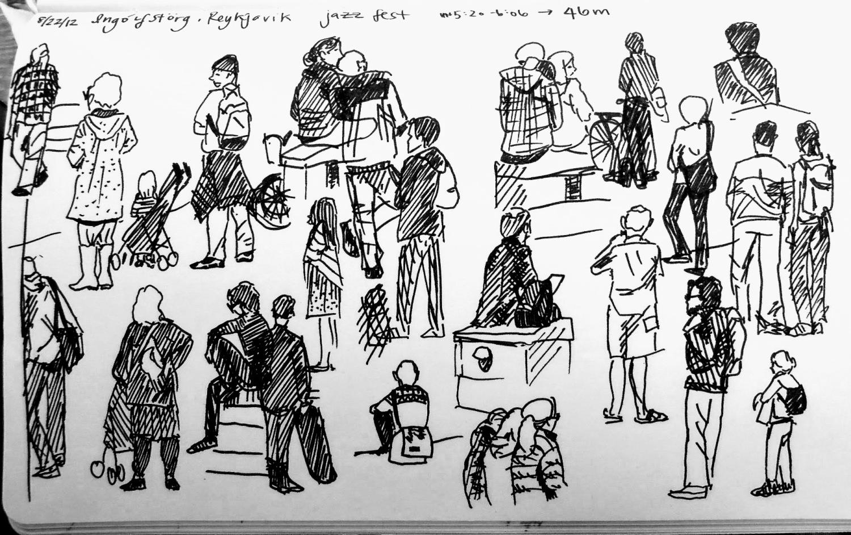 Black ink sketches of people in a Reykjavík square