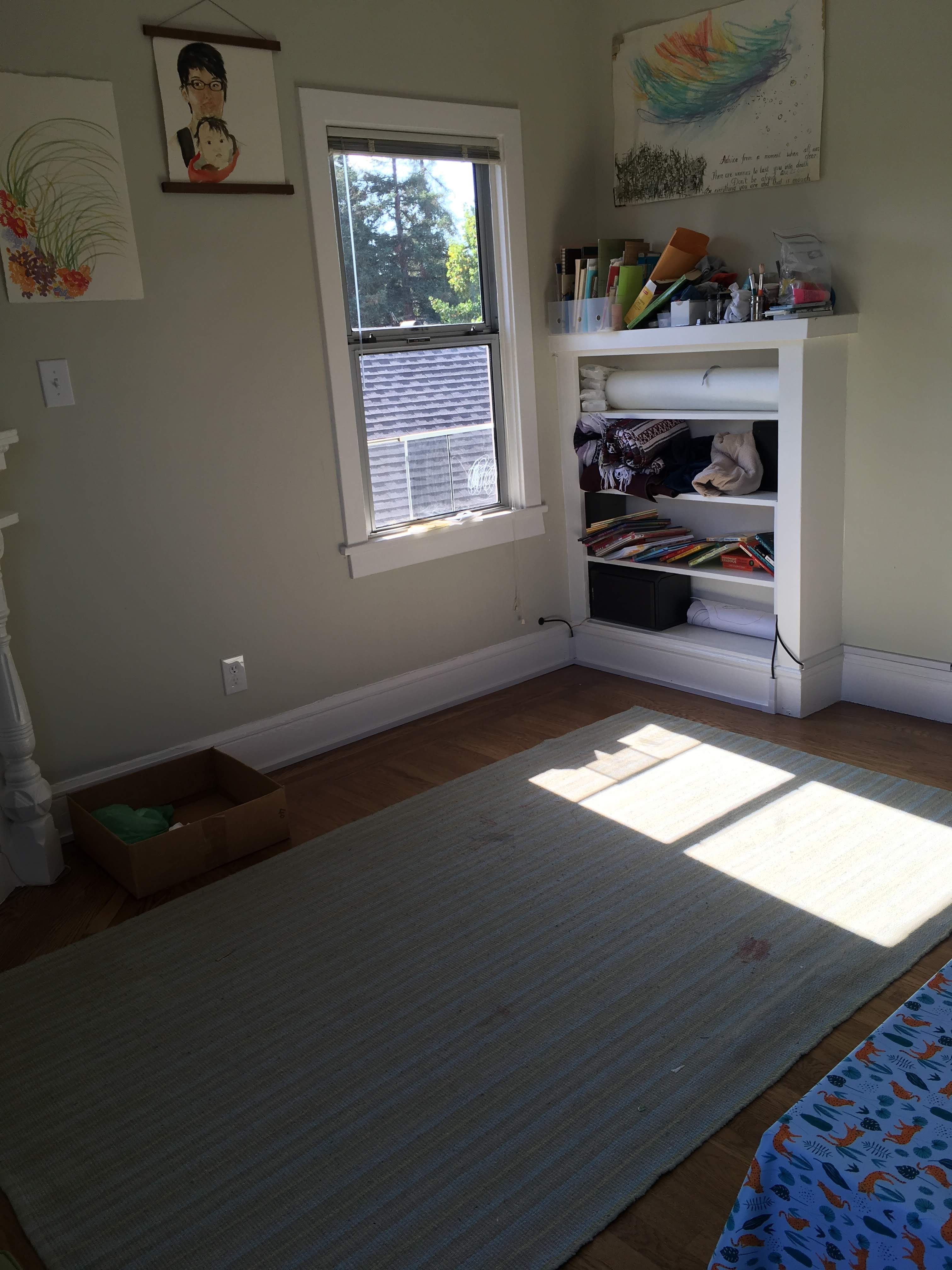 A large, flat-weave area rug in a sunny corner of an apartment