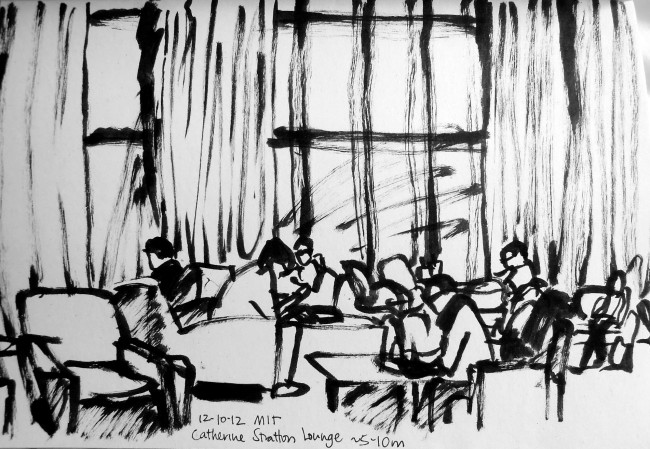 Scratchy marker sketch of people studying in a university lounge, by Lisa Hsia