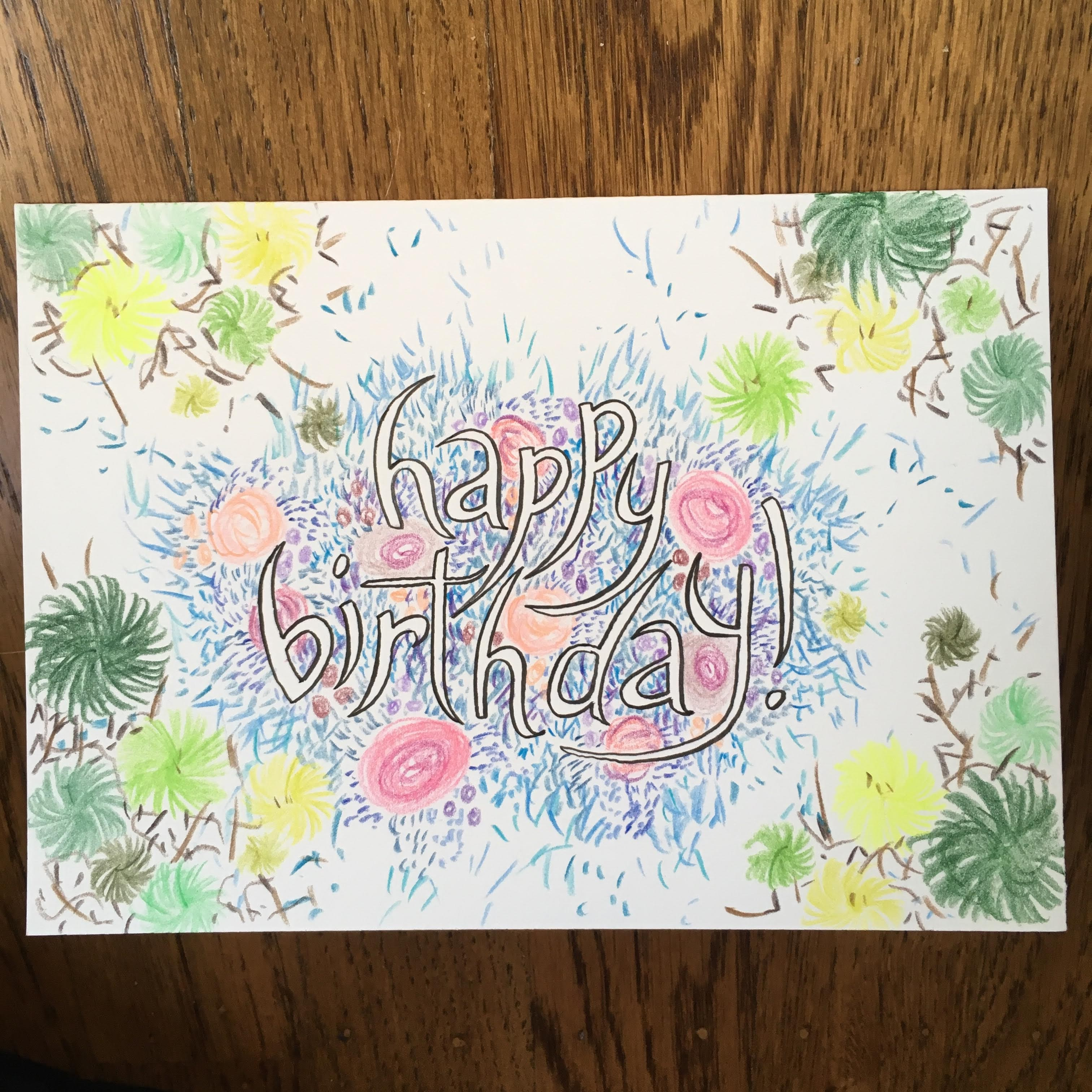 Colorful hand-drawn birthday card by Lisa Hsia