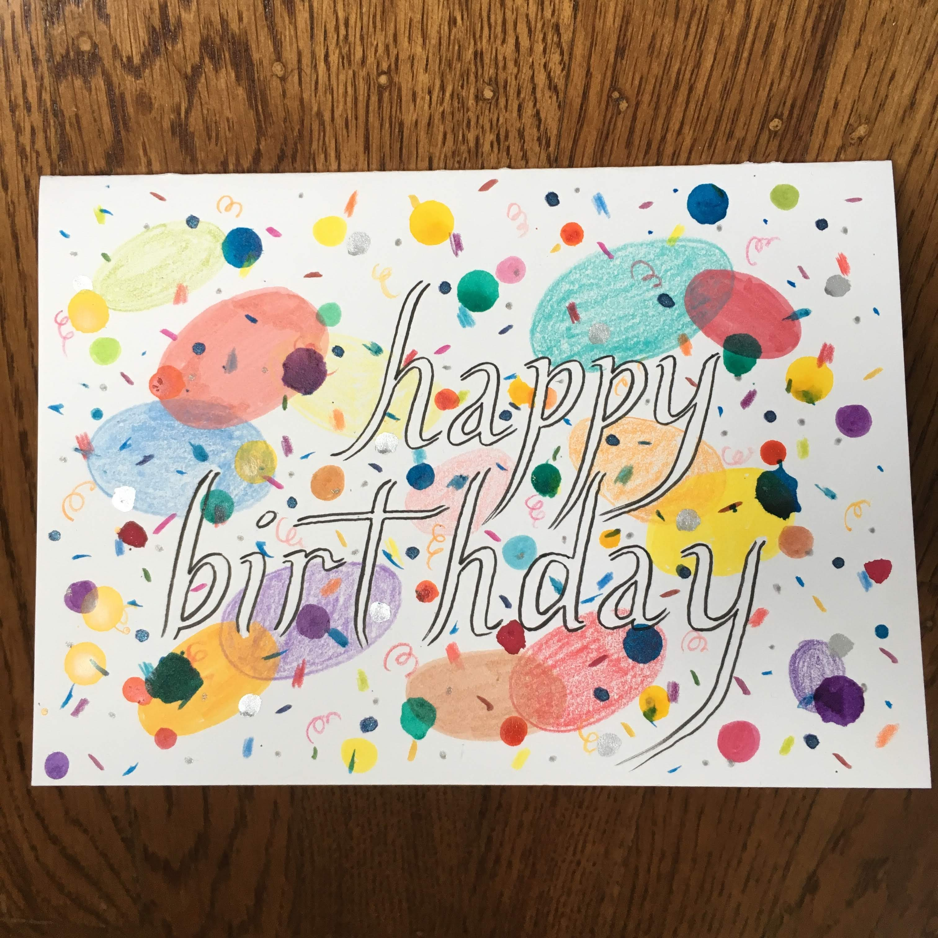 Colorful hand-drawn and painted birthday card