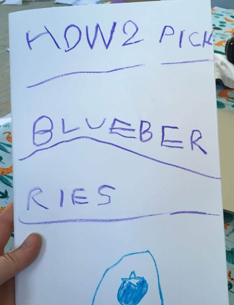 "A child's crayon writing, ""HOW2 PICK BLUEBER RIES"""