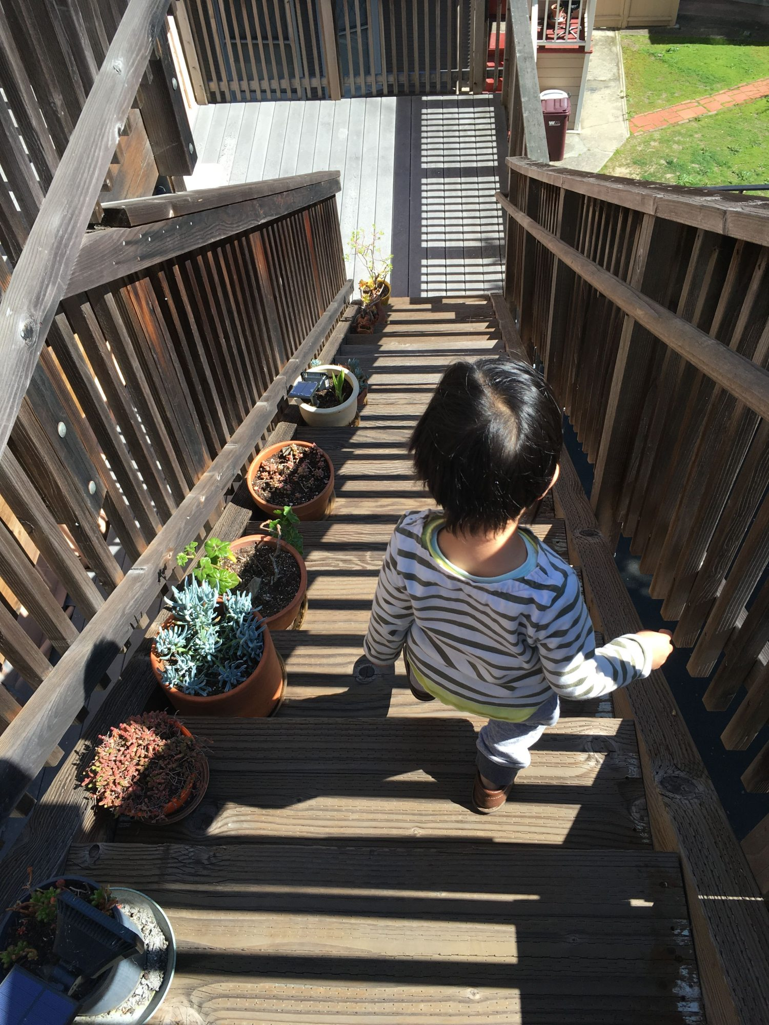 A small child with short black hair descends sunny wooden outdoor stairs