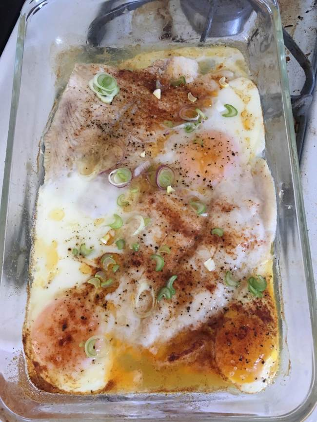 Baked petrale sole with eggs