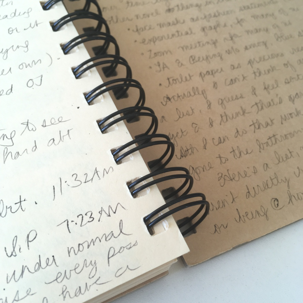 A spiral notebook with handwriting on the last page and on the inside back cover