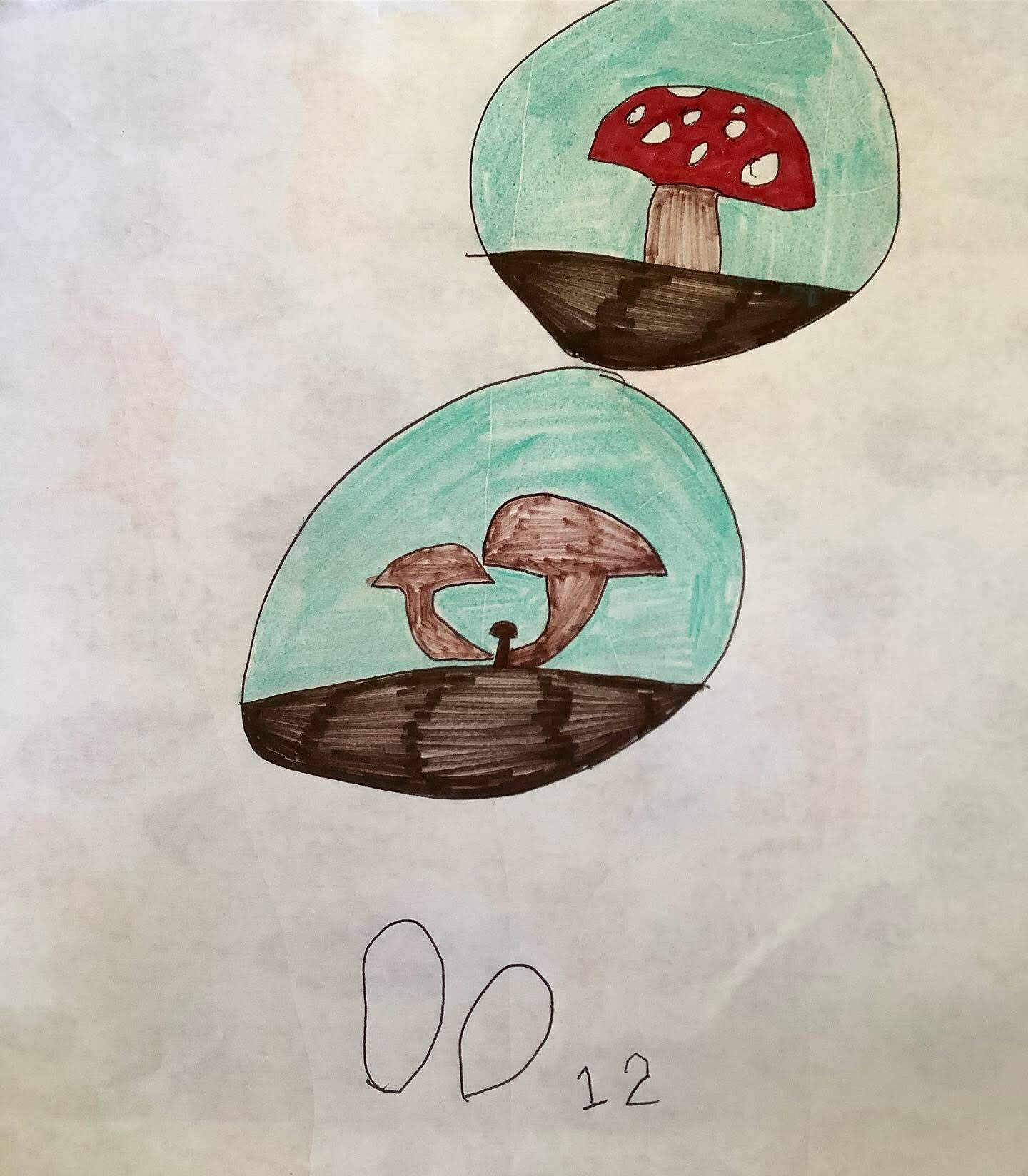 Young child's drawing of the Forest app, with mushrooms growing in circles