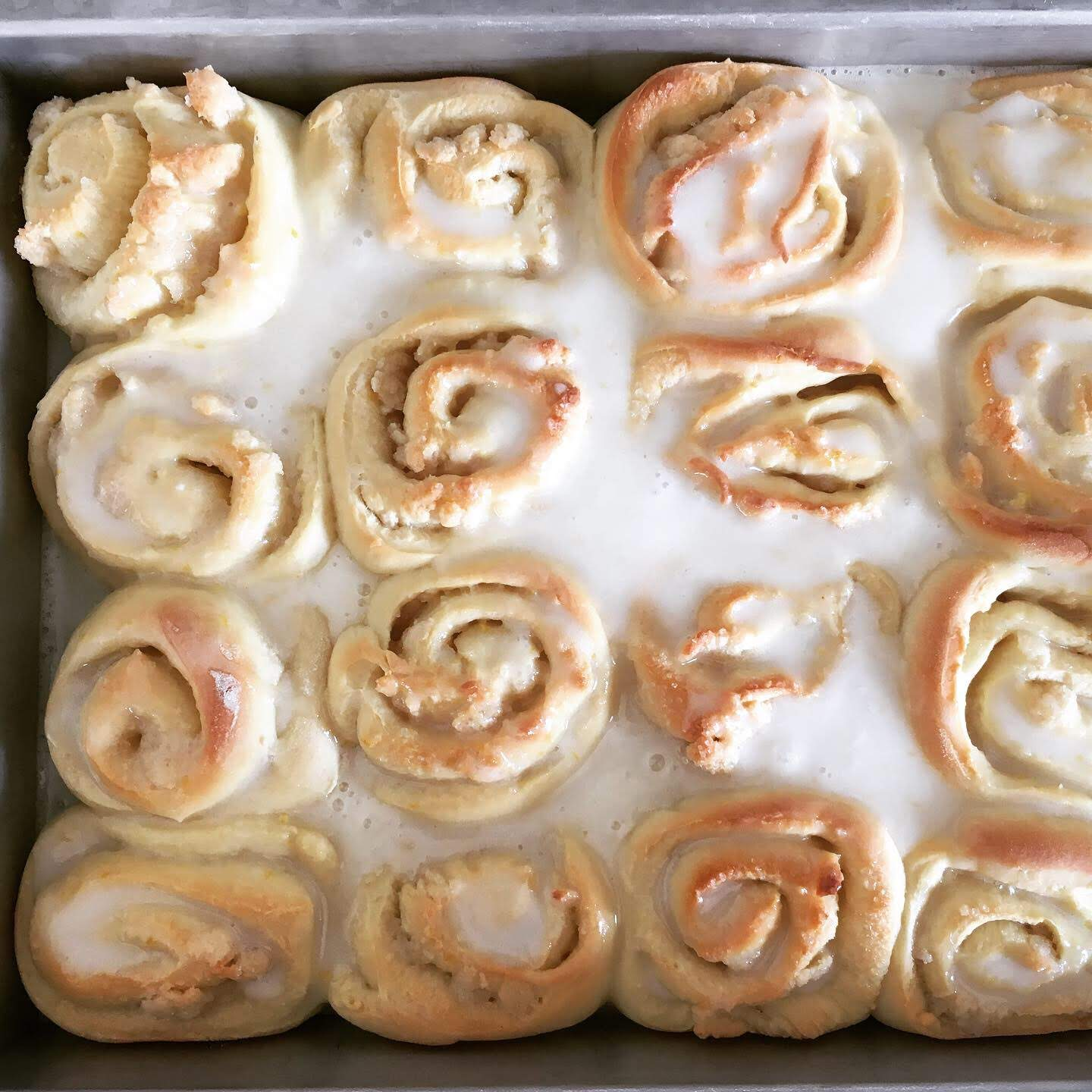 Glazed lemon-almond rolls