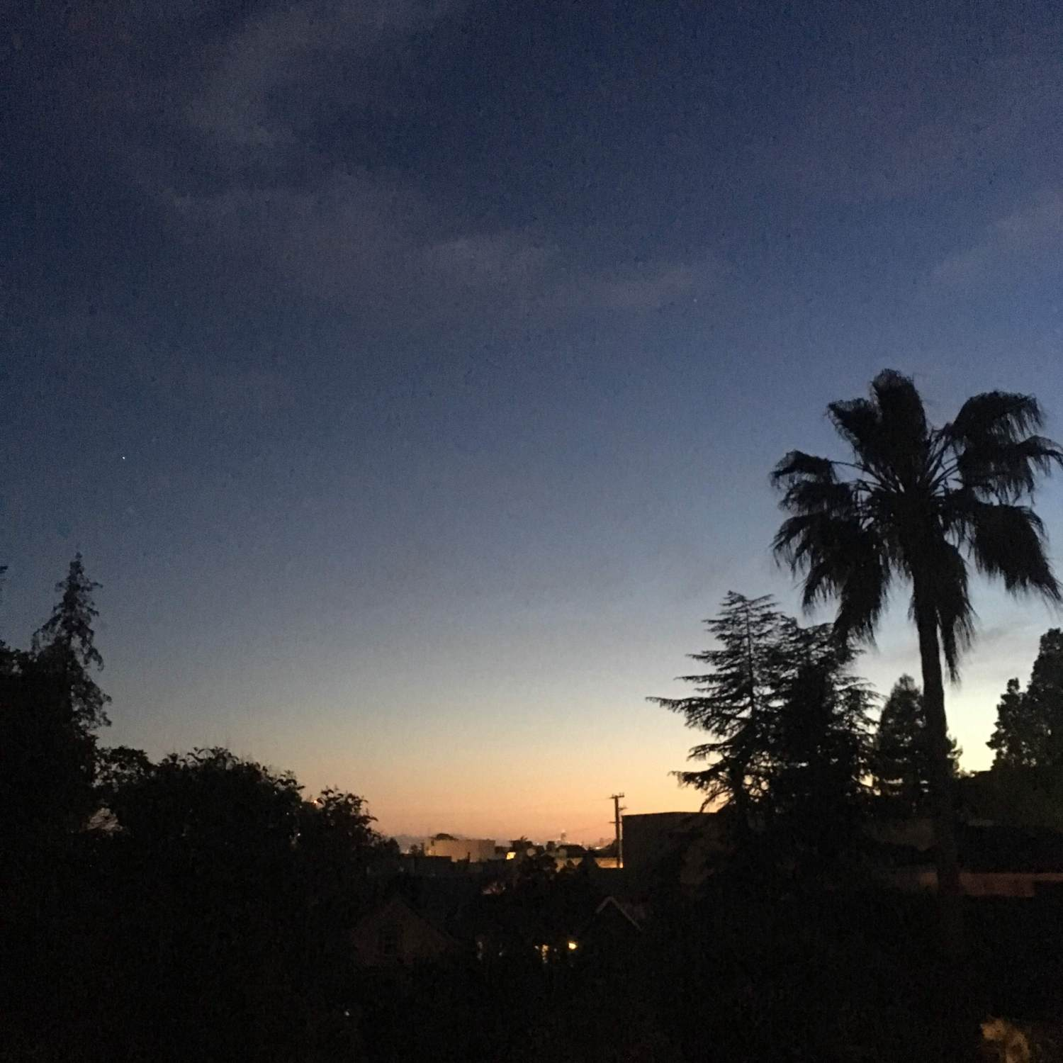 California neighborhood view, just after sunset