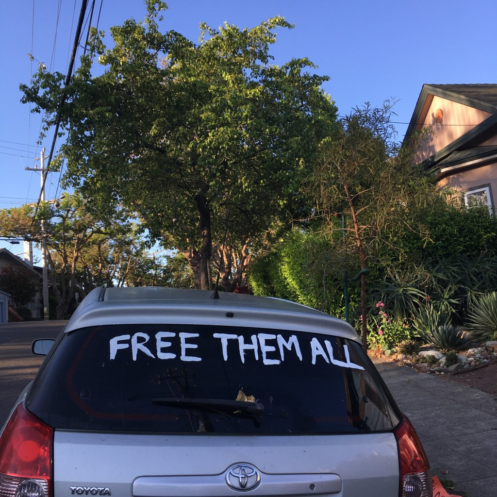 """FREE THEM ALL"" painted on a rear windshield"