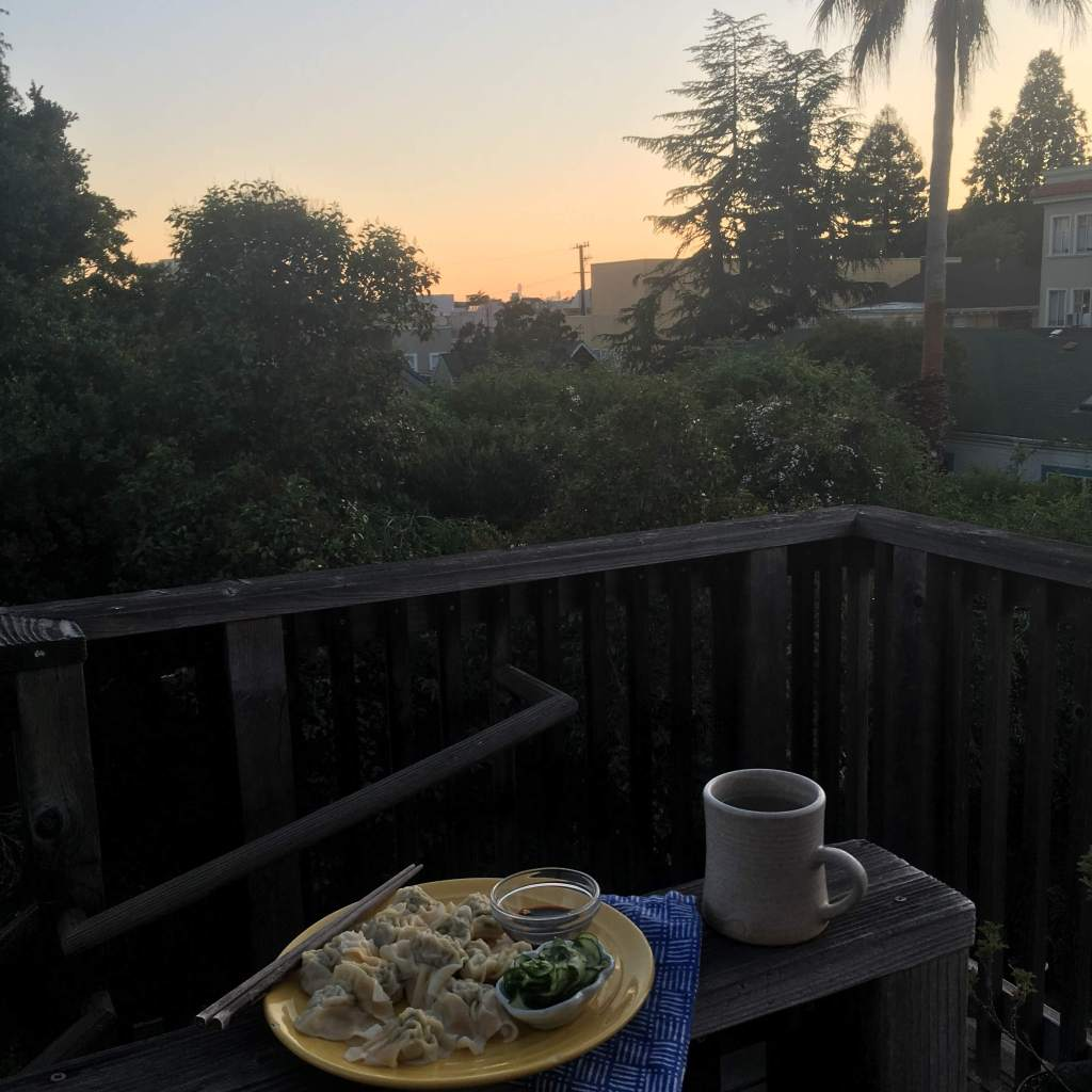 Dinner on the deck at sunset