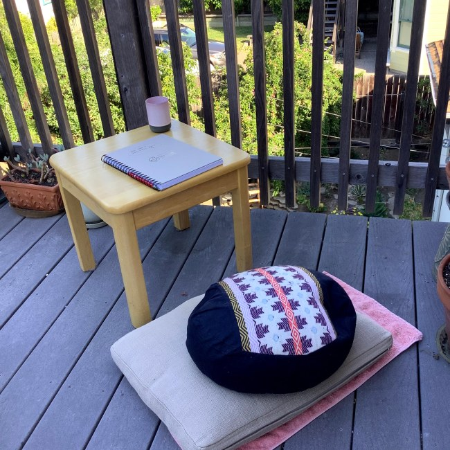 Journal, low table, cushions outside