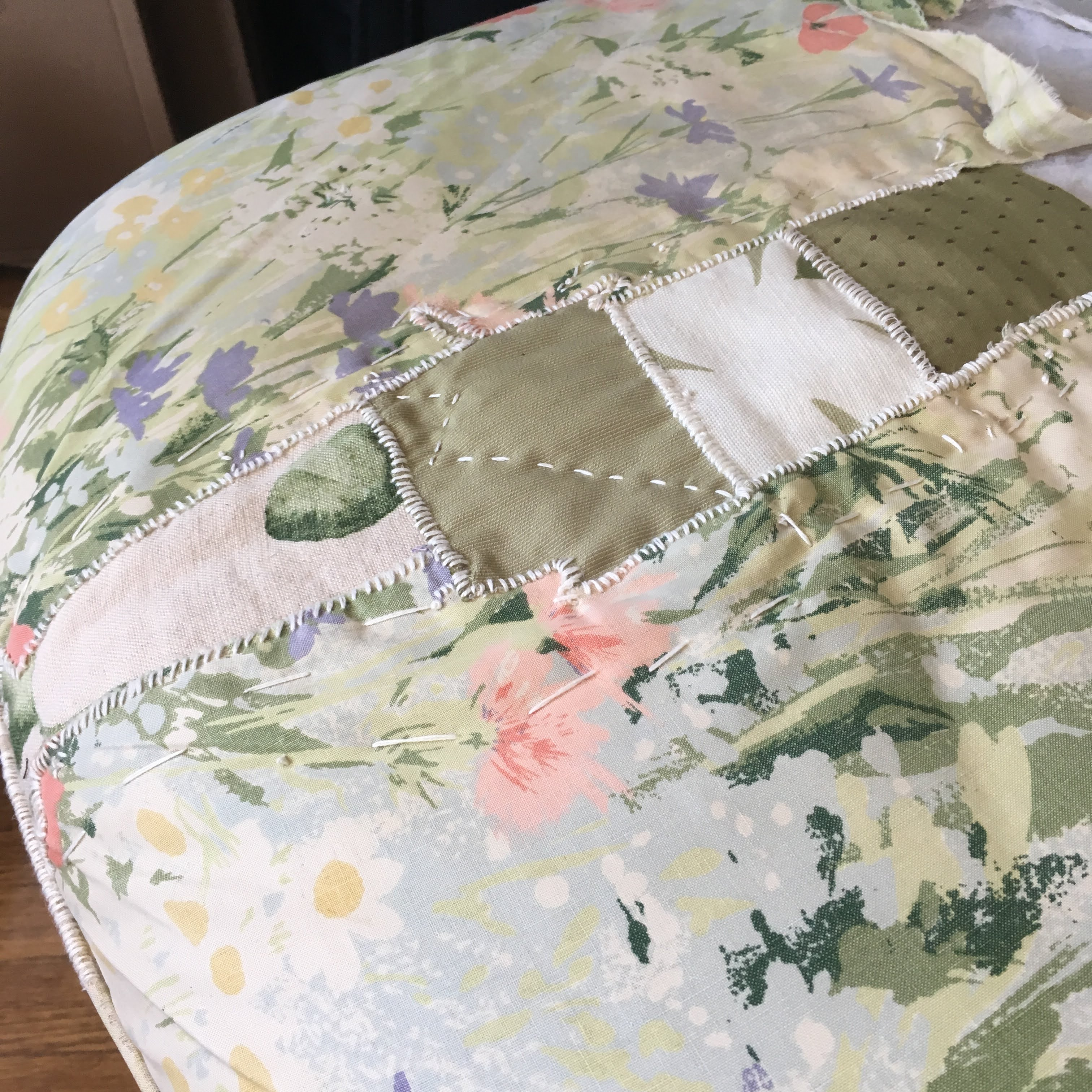 Patchwork mended ottoman
