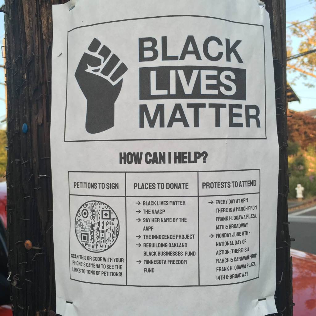Black Lives Matter flyer on a phone pole