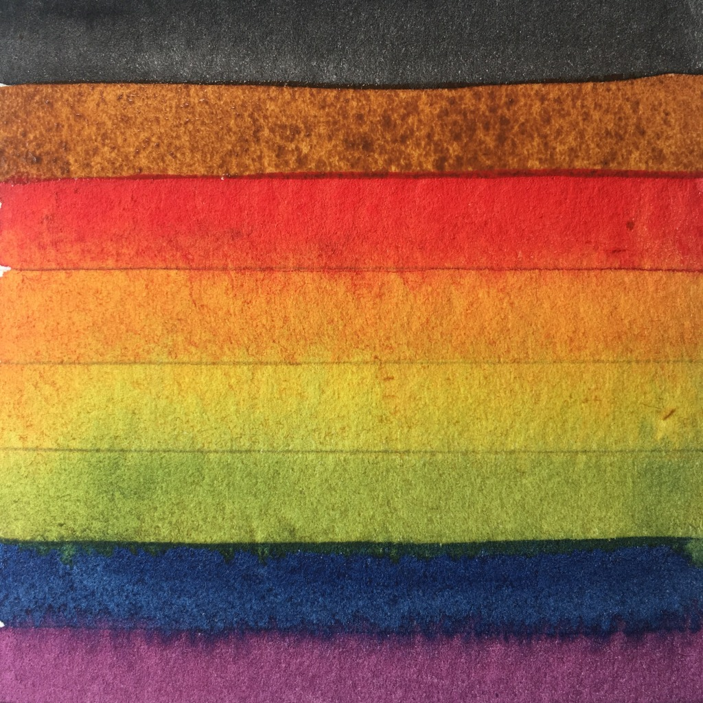 Watercolor painting of a square with black, brown, and rainbow stripes