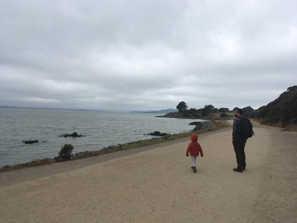 An adult and child walk along a beach trail on an overcast day