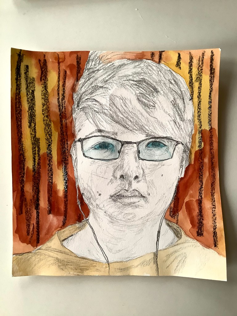 Pencil, wax-resist pastel, watercolor self-portrait by Lisa Hsia