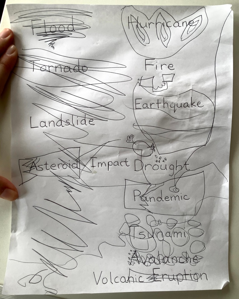 Handwritten list of disasters with a child's drawings of them