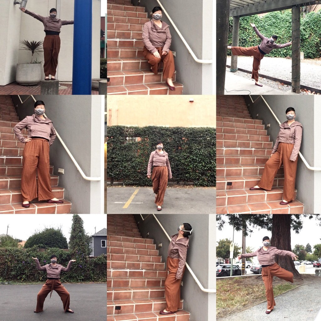 Collage of nine photos of Lisa Hsia, a short-haired Asian person in dusty pink and rust-colored clothes, posing against various city backdrops
