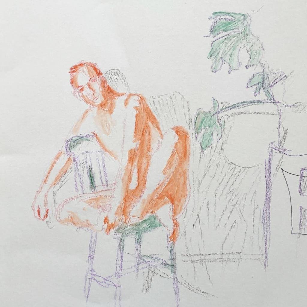 Watercolor-pencil drawing of a nude man on a chair