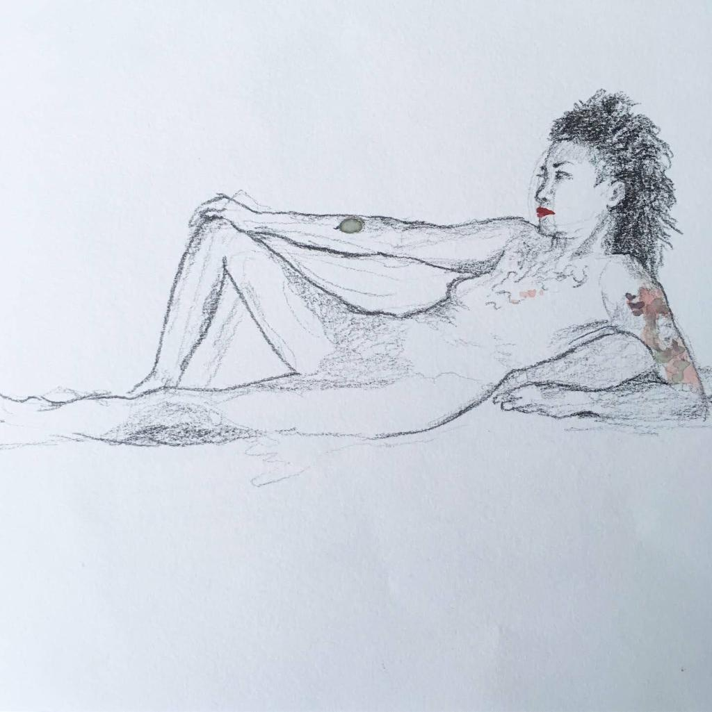 Pencil drawing of a tattooed person with red lips and voluminous hair