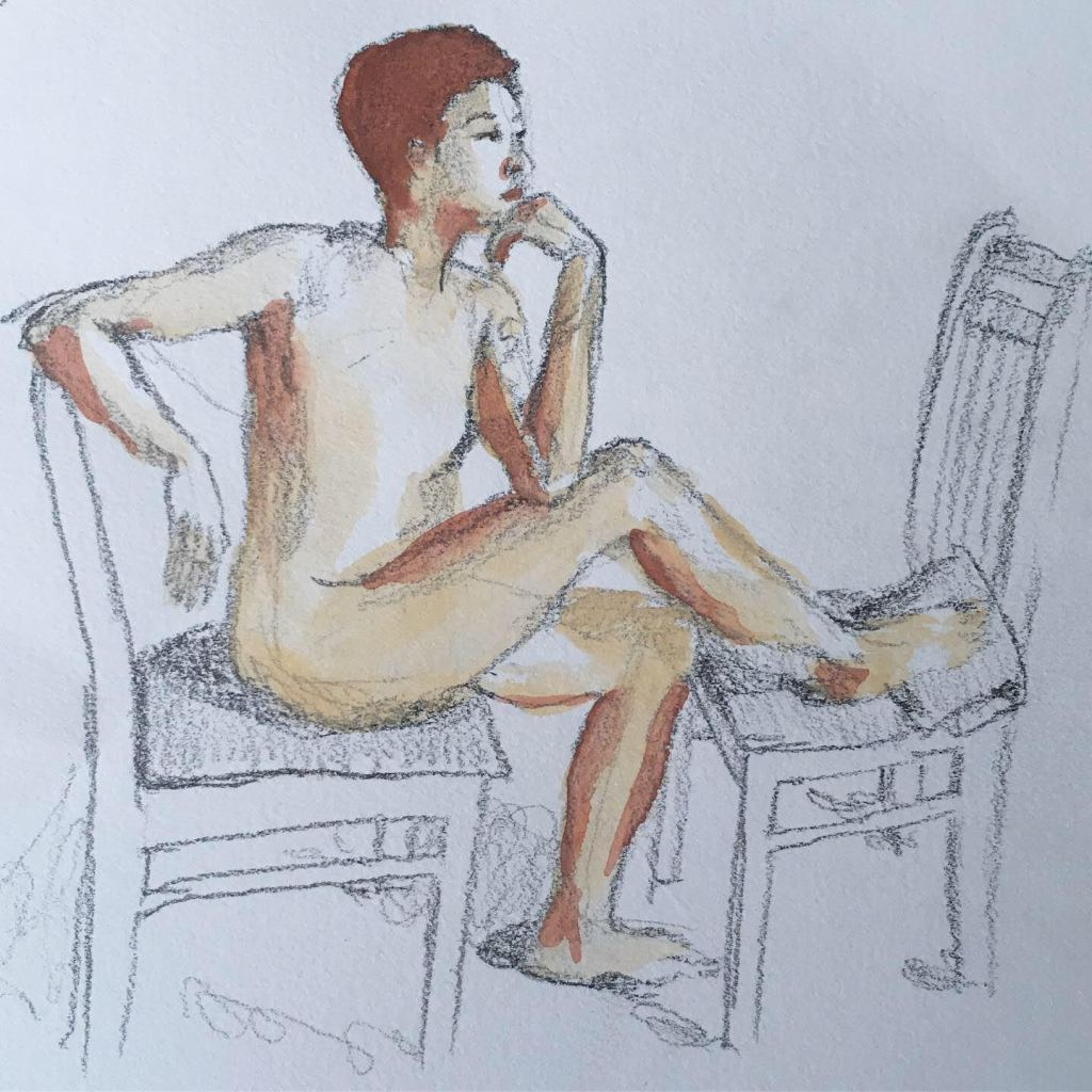 Watercolor and pencil drawing of a nude, short-haired person in seated contemplation