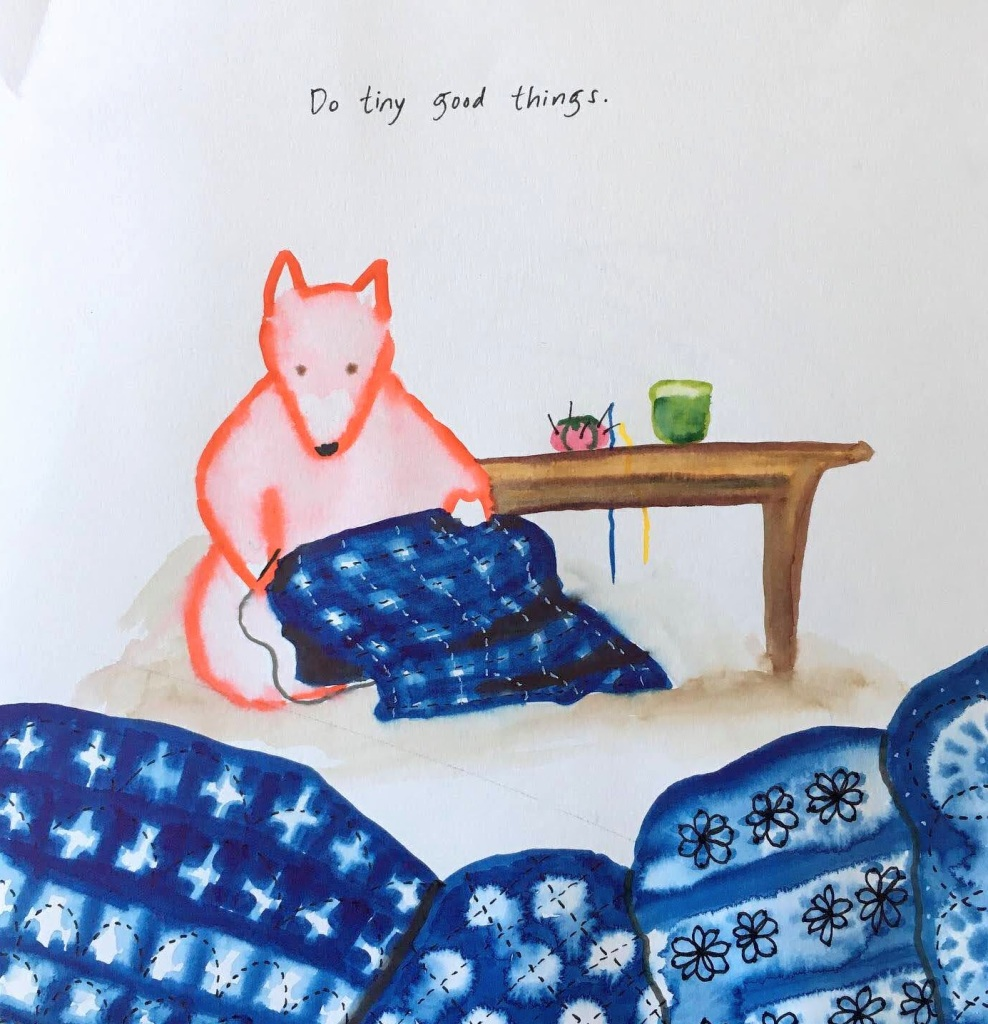 Watercolor of a fox doing sashiko stitching, by Lisa Hsia