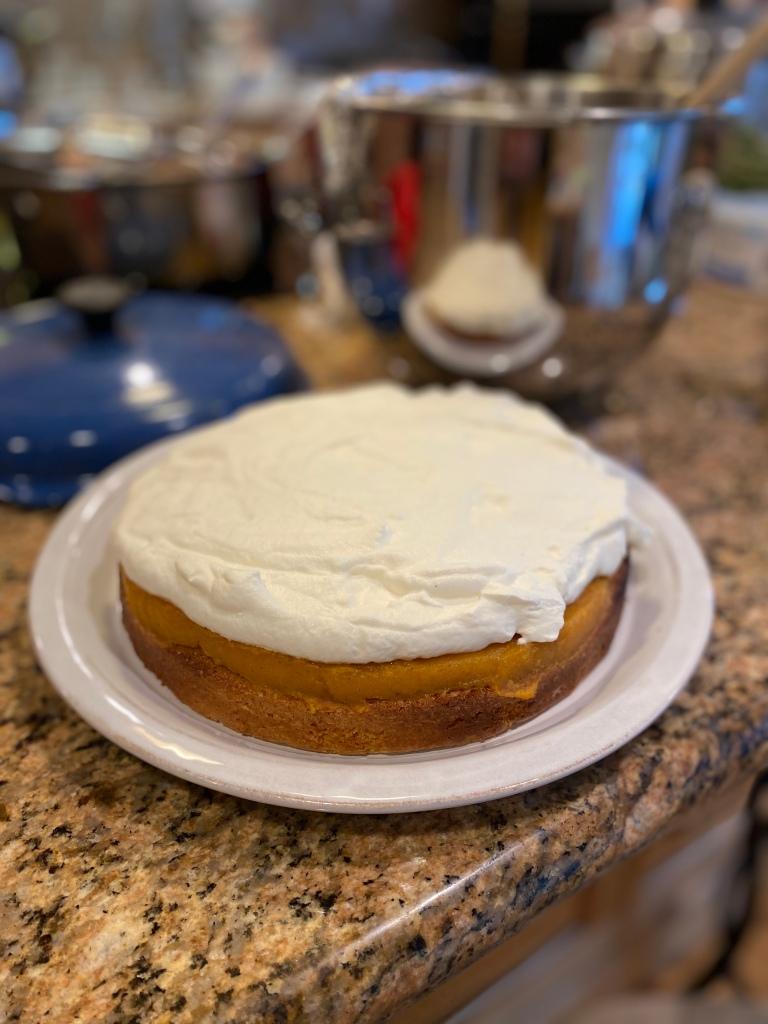 Brown butter cake, Japanese sweet potato cream, whipped cream