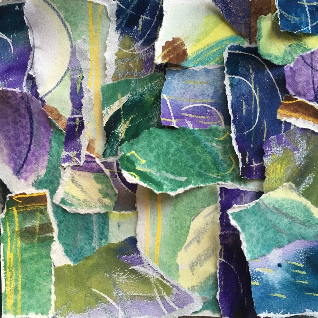 Green, blue, and purple collage in torn paper, watercolor, wax-resist pastels, by Lisa Hsia