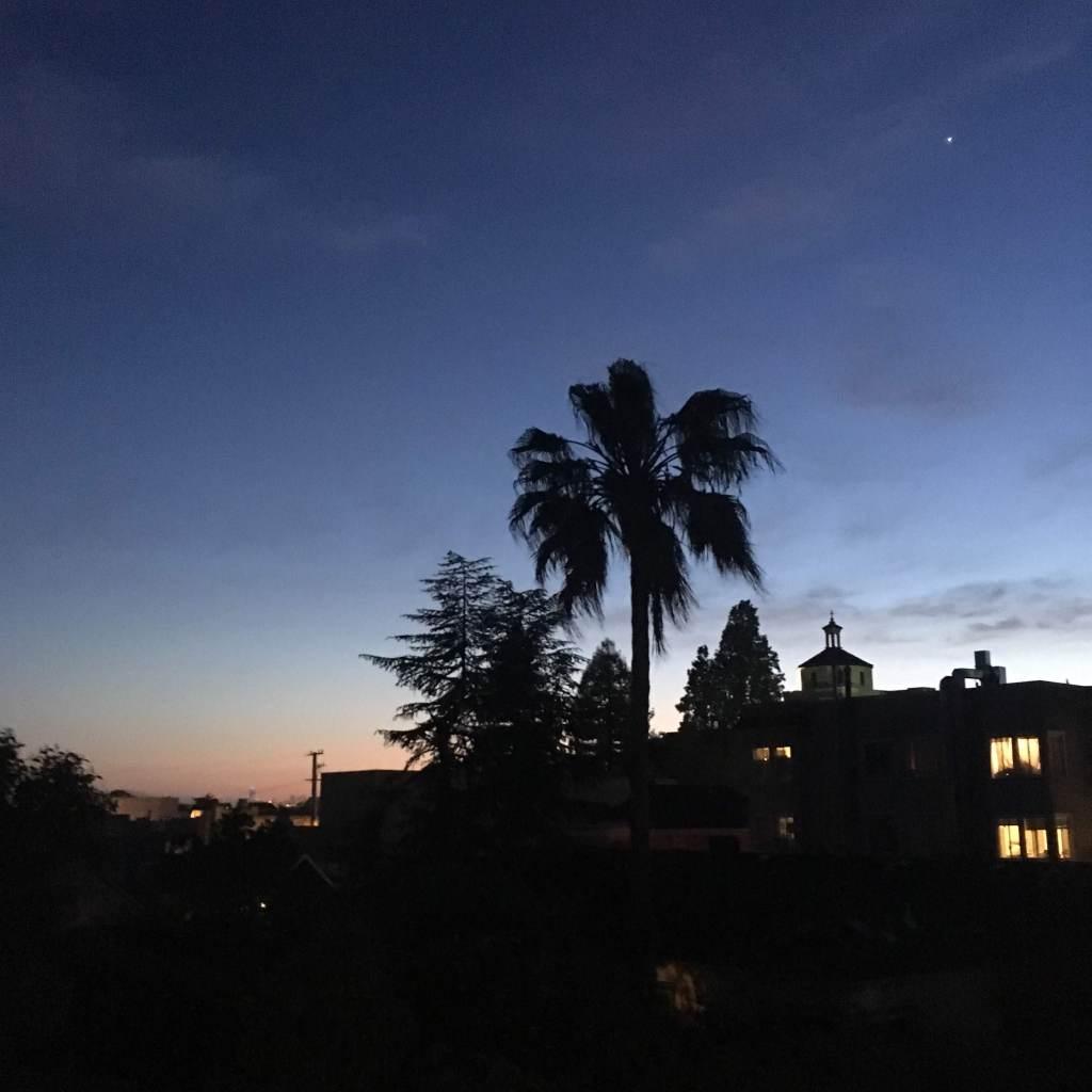 Evening view of a Northern California urban/suburban skyline