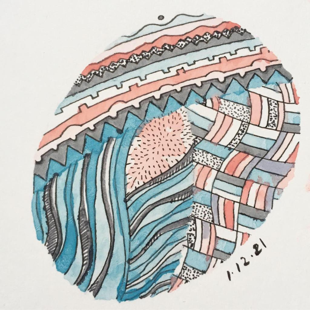 Pink, blue, white, and grey doodle by Lisa Hsia