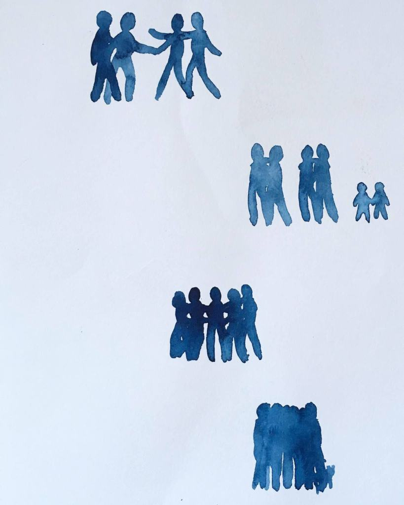 Indigo watercolor abstract figures coming together and hugging more and more tightly, by Lisa Hsia
