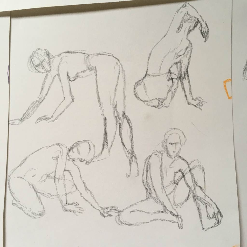 Four figure gesture sketches in pencil, by Lisa Hsia