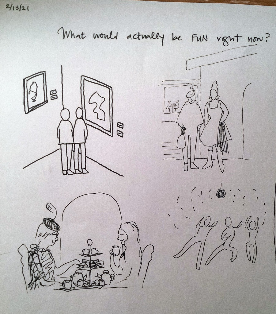 Doodle by Lisa Hsia showing some fun, non-pandemic activities